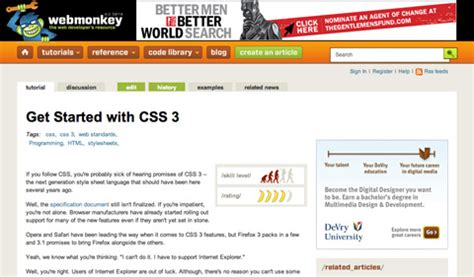 css tutorial starting with html css3 and html5 tutorials and resources web developer and