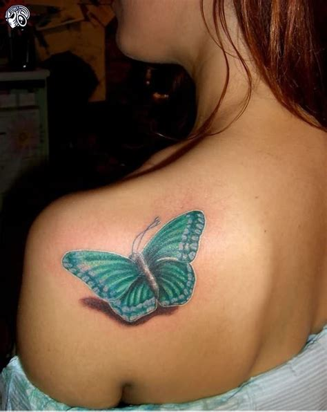 butterfly tattoo on shoulder light blue butterfly on shoulder