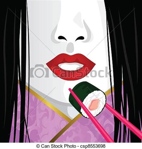 geisha clipart vetor de sushi comer geisha fim cima ligado rosto