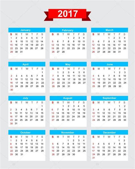 Calendario Mexico 2017 2017 Calendario Settimana Inizia Di Domenica Vettoriali