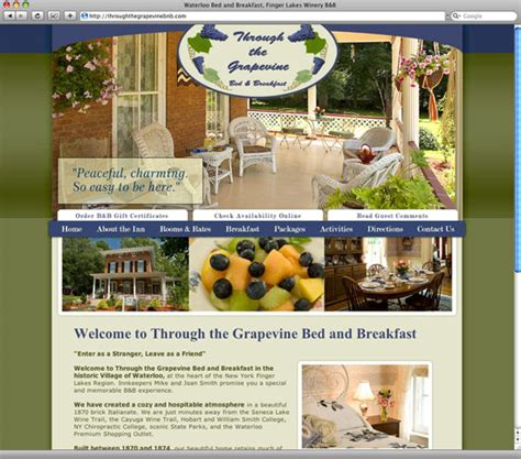 bed and breakfast grapevine tx professional website design for inns cottages b b hospitality website designer