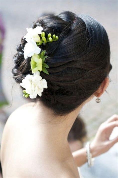 Wedding Hair Side Bun With Flower by Side Swept Side Wedding Hair With Veil