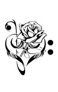 black rose in music heart tattoo stencil by e stone