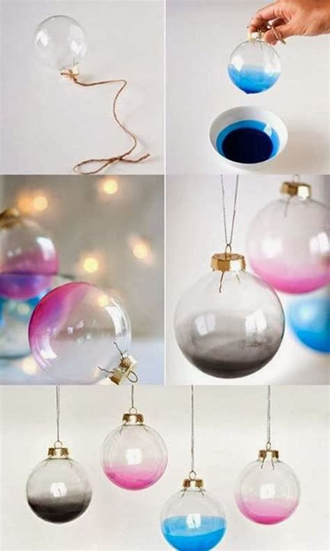 diy decorations baubles diy 5 tree decorations ombre baubles