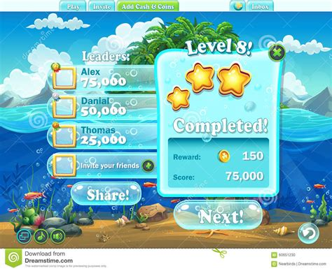 fish computer game cartoon fish world exle of window level completion for a