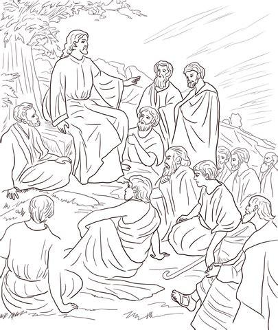 coloring page of jesus preaching jesus teaching people coloring page free printable