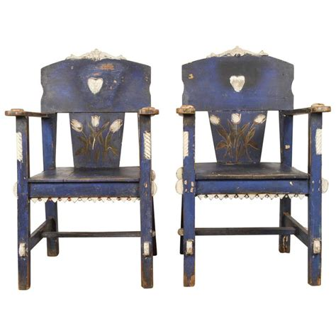 mexican painted chairs mexican blue painted chairs with tuilips for sale at 1stdibs