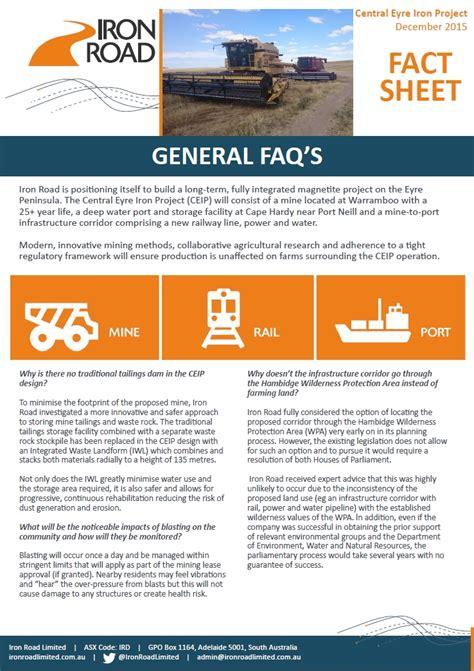 iron road information fact sheets
