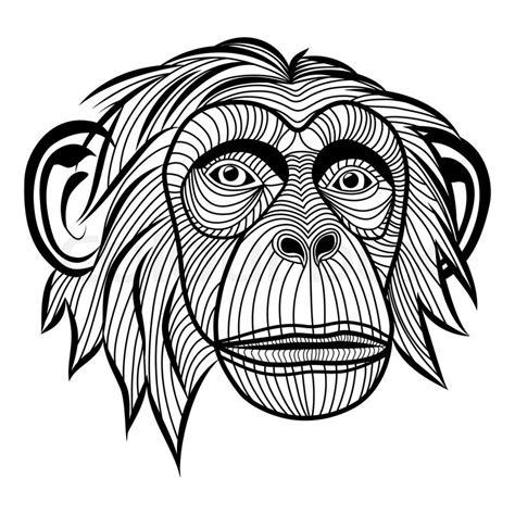 tattoo animal vector monkey chimpanzee ape head animal simian symbol for