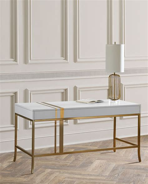 white and gold writing desk glam white desks for your home office in every style and