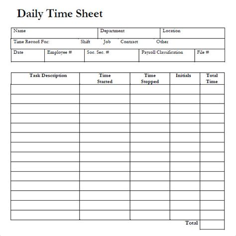 daily time card template excel 8 sle daily timesheet templates sle templates