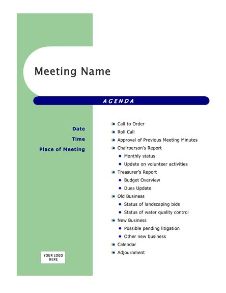 meeting agenda template word free agendas office
