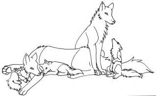 Free Wolf Family Lineart 2 By Trisomy On DeviantArt sketch template
