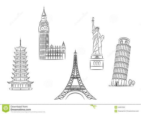 travel landmarks set stock vector illustration of famous