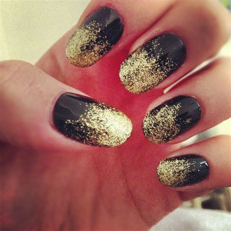 diy fade nails on ombre art nail black gold glitter diy fade