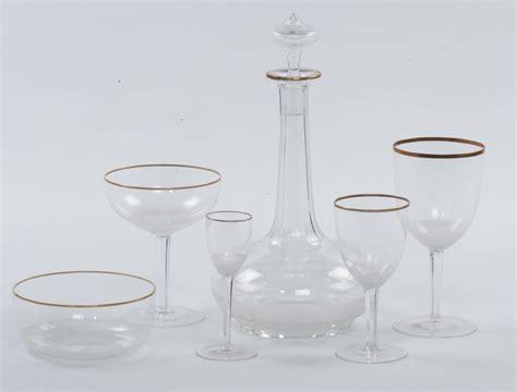 servizi di bicchieri in cristallo servizio di bicchieri in cristallo con bordo dorato