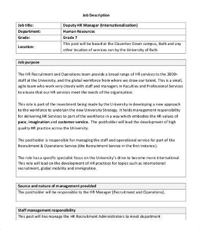 Deputy Director Description by Human Resource Manager Description 10 Free Word Pdf Format Free Premium