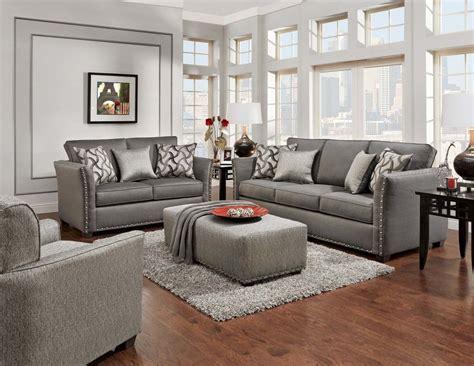 elegant grey sofa  loveseat  nailhead trim living