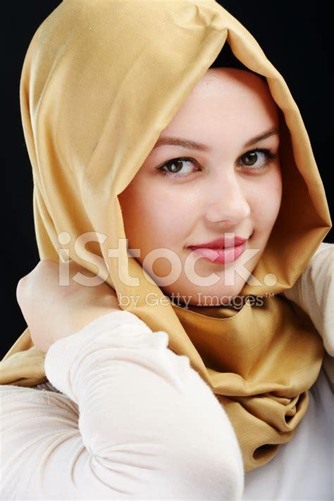young beautiful muslim girl portrait stock