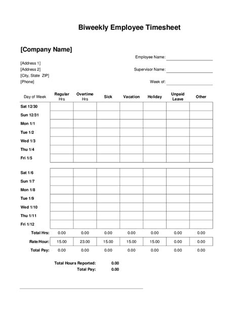 bi weekly time card template search results for printable biweekly timesheet