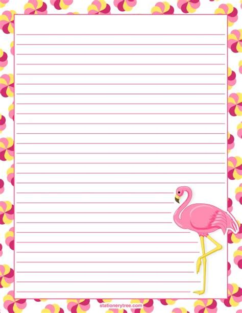 printable stationary download printable flamingo stationery and writing paper free pdf