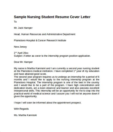 Nursing Resume Cover Letter by 8 Nursing Cover Letter Templates To Sle