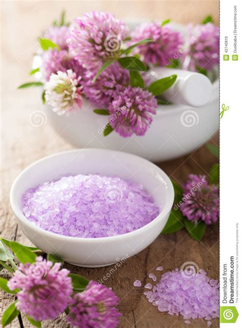 purple himalayan salt l spa with purple herbal salt and clover flowers stock photo