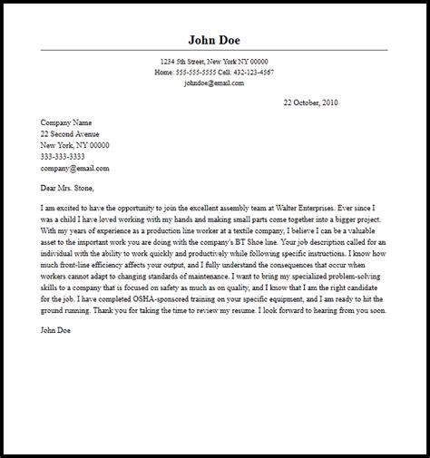 Assembler Cover Letters by Professional Assembly Line Cover Letter Sle Writing Guide Coverletternow