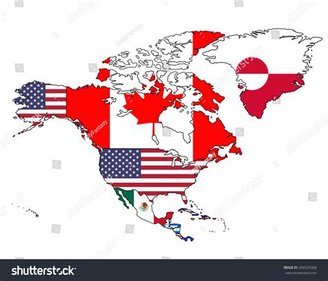 north america map with flags north america flag map map all stock vector 244535368