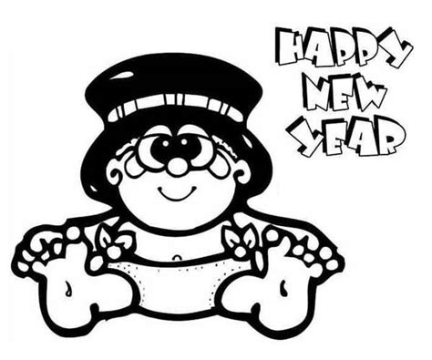 new year baby coloring page sweet baby new year in big hat coloring page sweet baby