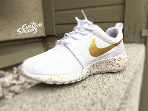 unique nike running shoes womens custom nike roshe run sneakers white and gold