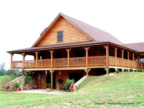 house plans walkout basement wrap around porch grandfield by honest abe log homes with a 270 degree wrap around porch plus walk out