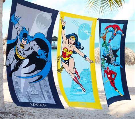 justice league bathroom decor justice league beach towel pottery barn kids