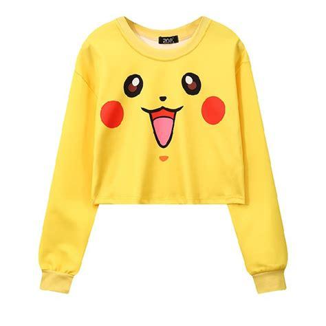 Hoodie Go Pikachu Mistykingkonveksi go cropped pikachu hoodie crop sweatshirt harajuku hoodies