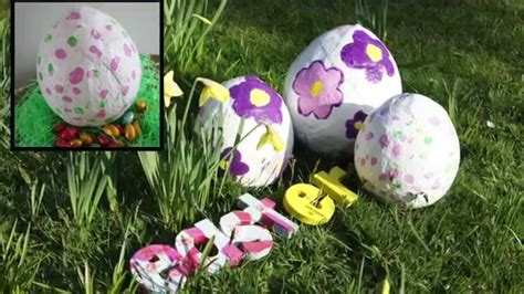 diy easter decorations how to make a plaster cloth easter egg youtube