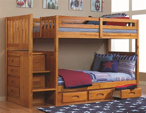 bunk beds with staircase discovery world furniture twin over twin honey mission