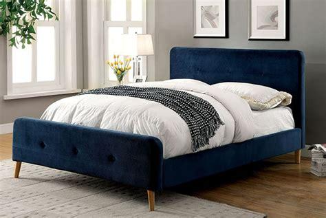 full size navy blue upholstered platform bed kids