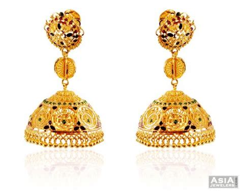 gold jhumka pattern designer 22k big jhumka earrings ajer59180 stunningly