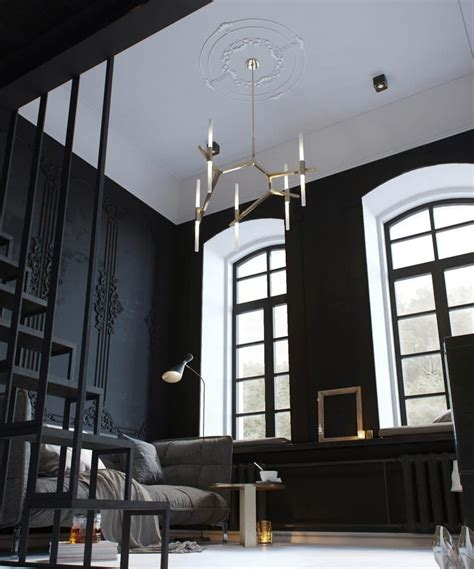 tiny monochrome black walled apartment with mezzanine