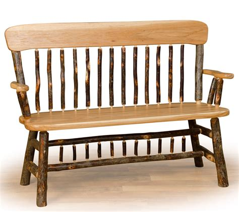farm style bench with back rustic hickory deacon s bench farmhouse and cottage
