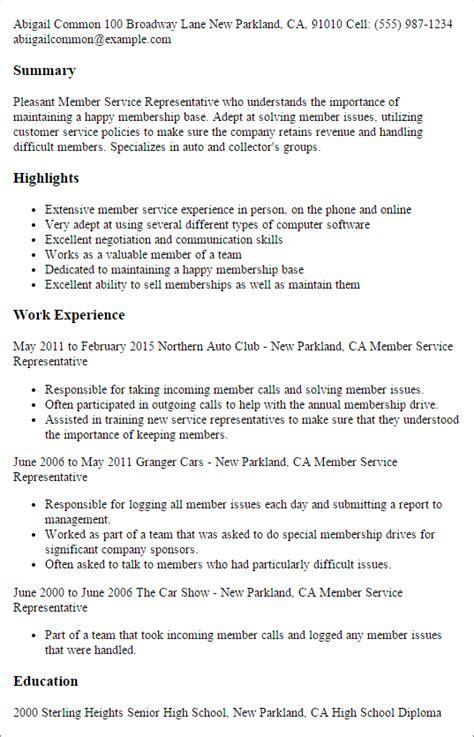 How To Sell Yourself In A Resume Examples by Professional Member Service Representative Templates To