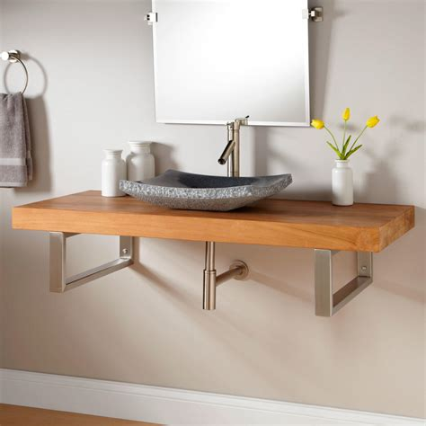 Mounted Vanity by Signature Hardware 49 Quot Teak Wall Mount Vessel Sink Vanity