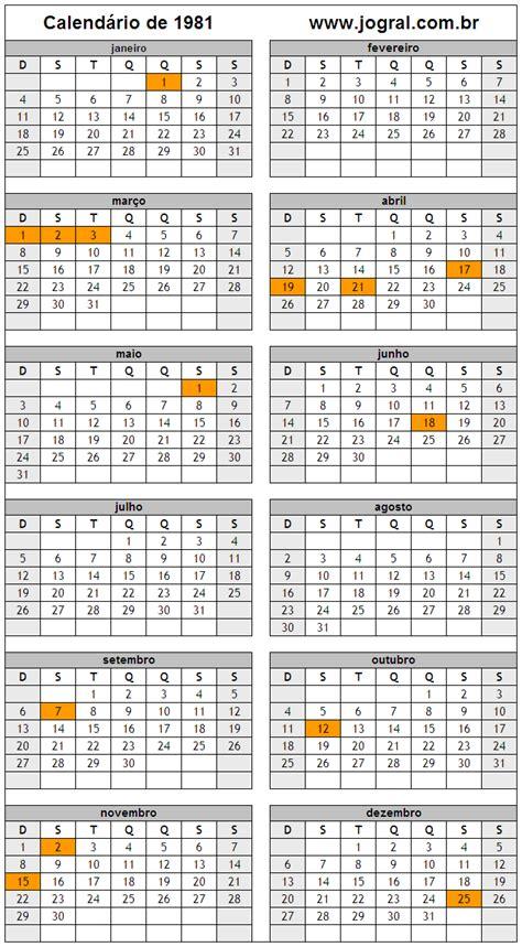 Calendario De 1981 Calend 225 Ano 1981 Para Imprimir Em Formato Pdf E Imagem