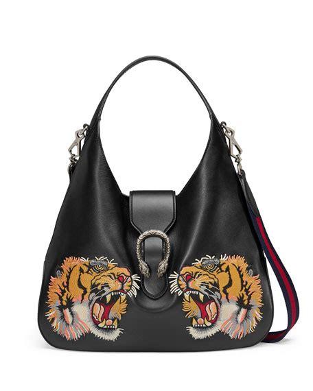 black pattern handbags gucci tiger embroidered leather shoulder bag black pattern