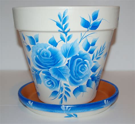 Handmade Pot Painting - painted clay flower pot one stroke blue roses design 8