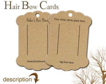 hair bow display cards template product display etsy