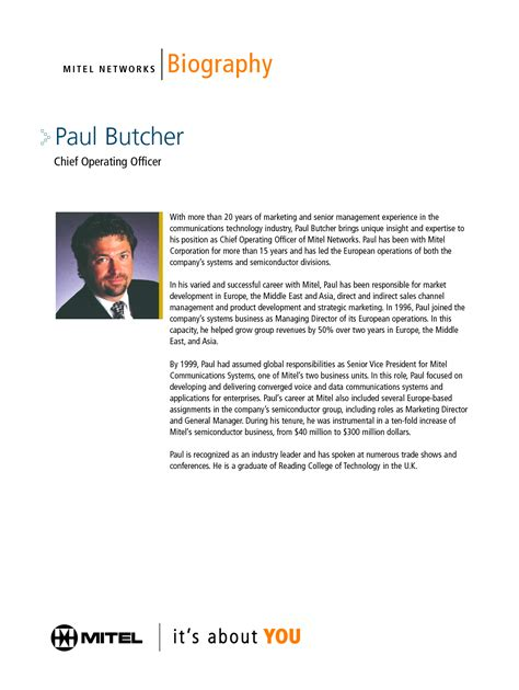 bio exles for executives best photos of executive biography template executive