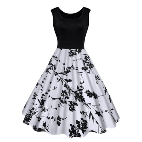 Dress Pakaian Terusan Wanita Black White Flower S 319180 Dress Terbaru Fashionoid Net