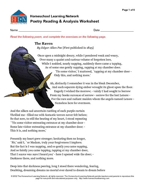 edgar allan poe biography worksheet answers edgar allan poe s the raven worksheet answers breadandhearth