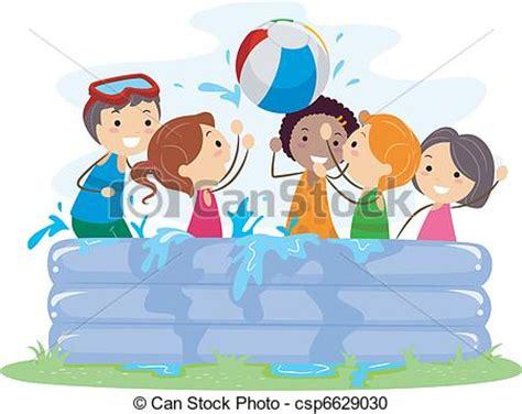 dibujos niños jugando en la piscina vector clip art de inflable piscina ilustraci 243 n de